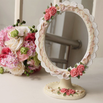 Special Korean exquisite resin desktop mirror vanity mirror beauty mirror new home dressing table mirror wedding gift