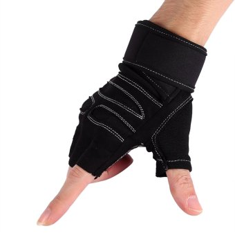 2 Pcs Weight Lifting Gym Training Fitness Gloves(Black/L) - intl