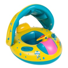 360DSC Inflatable Baby Pool Float Swimming Ring Boat with Sun Canopy for the Age 16-
