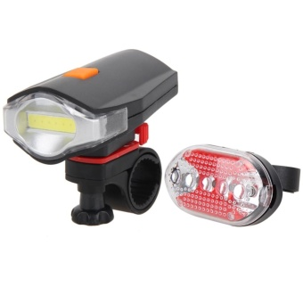 Bicycle COB LED Bike Cycling Front Rear Tail Light+5LED Taillight Night - intl