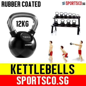 SPORTSCO 12KG Rubber Coated Kettlebell (SG)