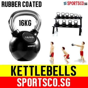 SPORTSCO 16KG Rubber Coated Kettlebell (SG)