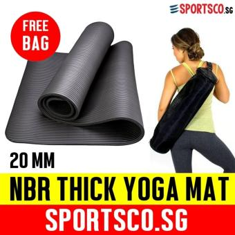 SPORTSCO 20mm NBR Extra Thick Yoga Exercise Mat (Black)