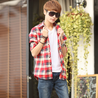 13 spring and autumn 14 adolescents 15 plaid shirt boys long sleeved shirt thin section slim korean high school students aged 16 (No. 11 color)