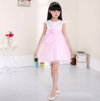16 summer princess skirt big virgin girls mesh lace Tutu children'stemperament dress veil short-sleeved dress (Pink color)
