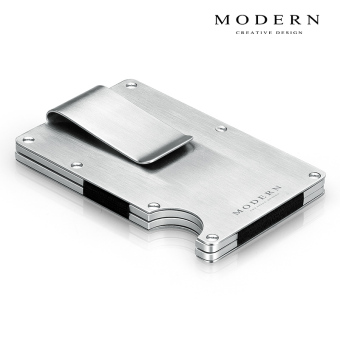 2017 German modern aviation aluminum men's portable metal does not rust steel clip wallet (Brushed)