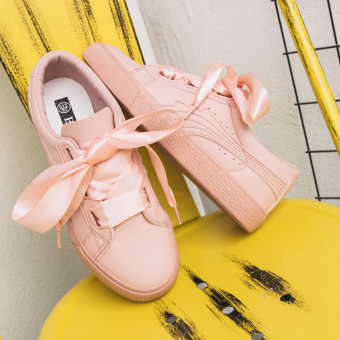 2017 New style summer white powder ribbon white shoes female Korean-style wild white shoes flat shoes student canvas shoes (Pink)