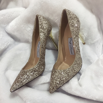 2017 summer New style bridesmaid wedding shoes from the stars ofyour pointed super high-heeled shoes fine with sequins single shoesfemale (Champagne gold 7 cm)