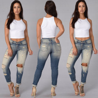 2017 summer sexy ripped hole boy friend skinny pencil jeans female