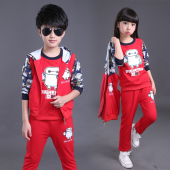 3 children wear children's clothing 4 autumn dress 2017 boys 5clothes 6 sports 7 spring 8 small boy 10 three pieces Suit12-year-old autumn and dress (6726 red)