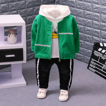 3 three boy's New style autumn sets of children's clothing (Duck three sets of green)