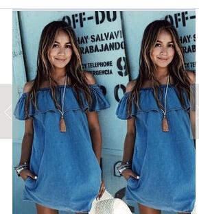 5366 wish AliExpress explosive version of the denim collar dress
