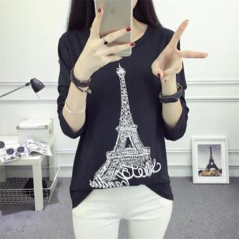 625 # Korean loose Paris tower T-shirt bottoming shirt (Black)(Black)