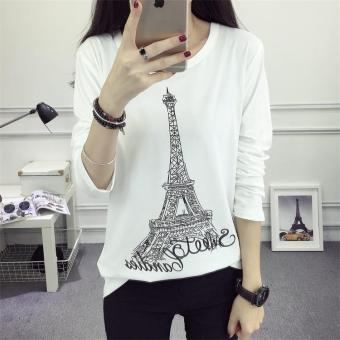 625 # Korean loose Paris tower T-shirt bottoming shirt (White)(White)