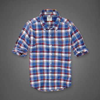 AF men's New style plaid tide cotton brushed long-sleeved shirt(Color blue plaid)