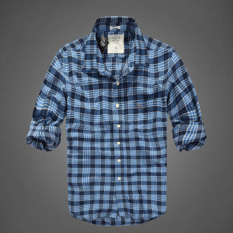 AF men's New style plaid tide cotton brushed long-sleeved shirt(Days of the blue dog)