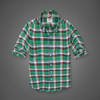 AF men's New style plaid tide cotton brushed long-sleeved shirt(Grass green plaid)