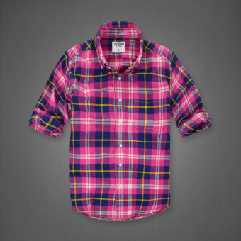 AF men's New style plaid tide cotton brushed long-sleeved shirt(Rose plaid)