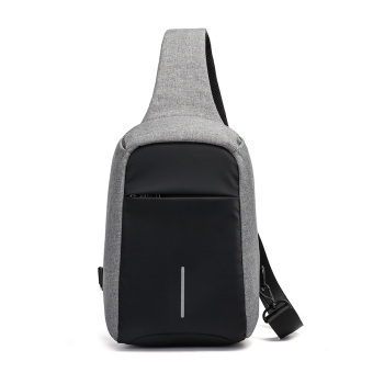 Anti-theft chest pack men's Korean version of the daily influx shoulder bag men casual fashion messenger man bag sports small backpack canvas bag (Gray)