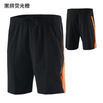 ARSUXEO men breathable quick-drying micro fitness sports pants running shorts (Black fight flourescent orange)