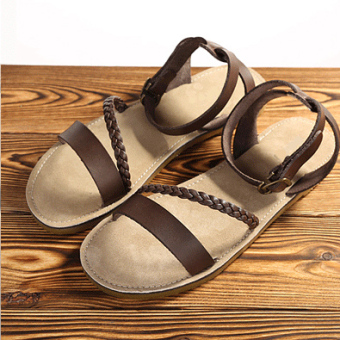 Artistic leather female woven sandals (Coffee black) (Coffee black)