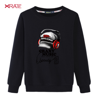 Artistic Spring and Autumn New style men hoodie (Round Neck hoodie-black-popular music)