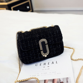 Autumn and Winter small bag handbag 2017 new small square bag wild shoulder Korean version of mini chain messenger bag Atmospheric Tide (Black)