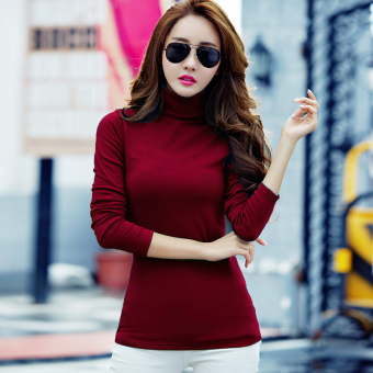 Autumn and Winter versatile Plus velvet female long-sleeved shirt thick bottoming shirt ([High collar] purplish red color)