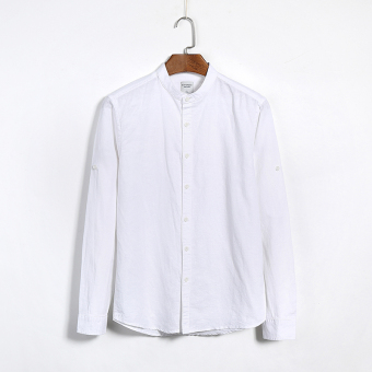 Autumn men's long-sleeved cotton material shirt casual round neckyoung thin section Korean slim linen white-inch Yi Liling (White)