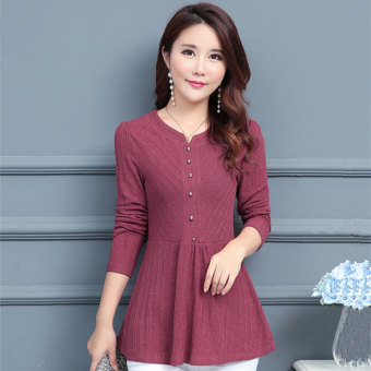Autumn New style long-sleeved Plus-sized loose chiffon shirt (Rose color)