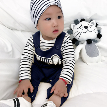 Baby New style summer overalls tide cotton long-sleeved t-shirt (Dark blue color)