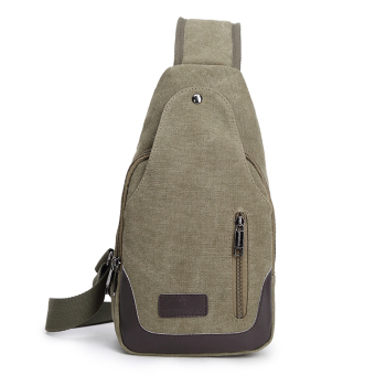 Bag 2017 New style men's chest pack canvas bag messenger bag man bag shoulder bag Korean-style small backpack casual pockets (Double zip dark green color)