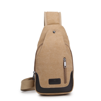 Bag 2017 New style men's chest pack canvas bag messenger bag man bag shoulder bag Korean-style small backpack casual pockets (Double zip light coffee)