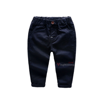 Baobao England solid color New style cotton pants children's pants (Bright black color Spring and Autumn cotton button pants)