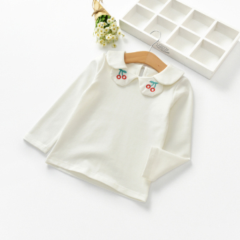 Baobao Korean-style cotton autumn baby long-sleeved Top T-shirt (White)