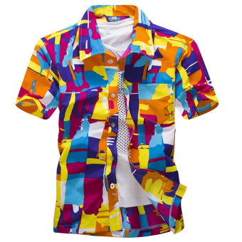Beach men's short sleeve travel casual shirt Printed shirt (06 # Orange)