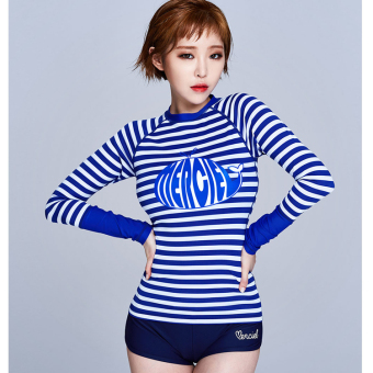 Black New style zebra striped swimsuit (Blue and White Stripe)