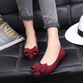 Black pointed flat heel flat top shoes suede shoes (Wine red color)