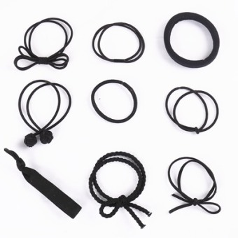 Black wild small fresh basic rubber band hair rope tousheng (Black 9 root)