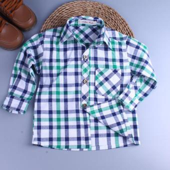 Boy's cotton long-sleeved shirt new plaid shirt (Green) (Green)
