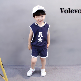 Boy's shorts T-shirt children's short sleeved suit (A five point star vest dark blue color)