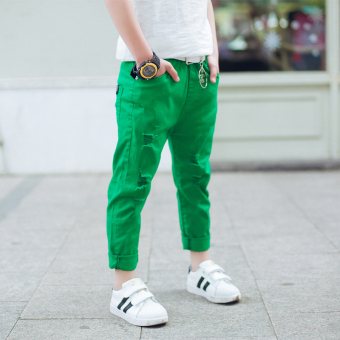 Boys pants baby male Spring and Autumn New style tide looseKorean-style (Green)