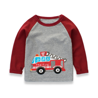 Boys Spring and Autumn big virgin compassionate tide cotton long-sleeved t-shirt (3110 flower gray/Claret)