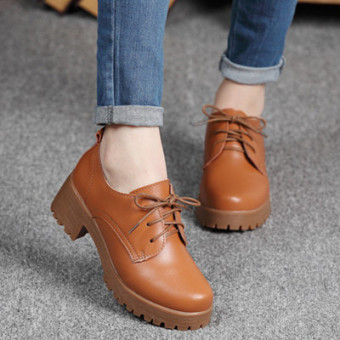 British Plus-sized bandage cloth work shoes leather women's shoes (Brown)