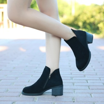 British style autumn and winter New style round short boots (Black)