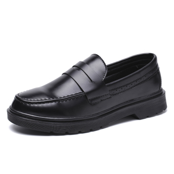 British style thick bottomed elevator small leather shoes trendy shoes (Black)