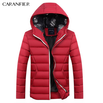 BYL caranfier length jacket mens hooded jackets smart casual Cotton (Red)