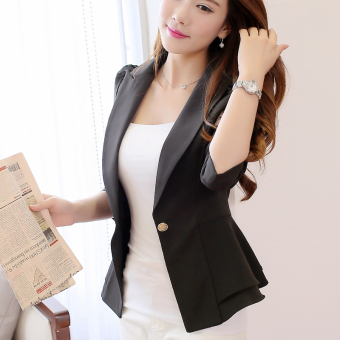 Caidaifei spring and summer New style long-sleeved women coat (Black)