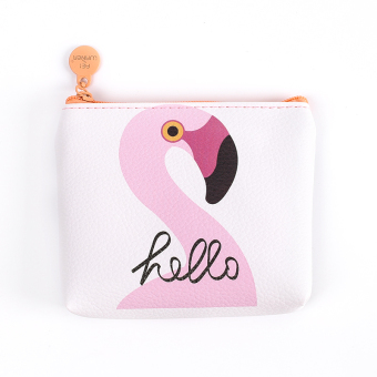 Cartoon female mini student coin bag zip purse (A flamingo)
