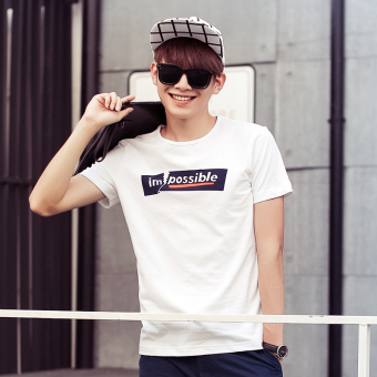 Casual cotton round neck Short sleeve t-shirt shirt T-shirt (White)